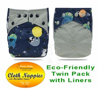 Grey Night Twin pack Modern Cloth Nappies