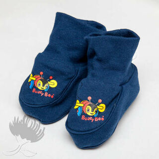 Buzzy Bee Navy Cotton Booties 0-6mths