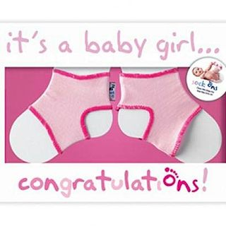 Sock On Congratulations Card - Baby Girl