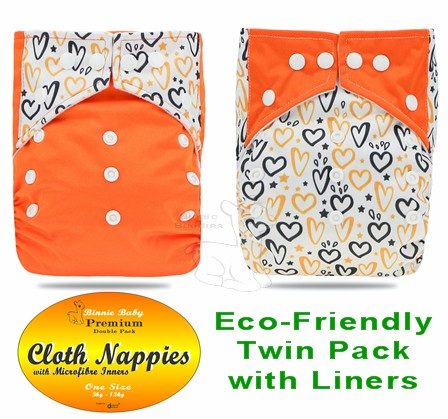 Orange Hearts Twin pack Modern Cloth Nappies