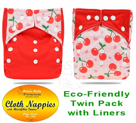 Red Cherry Twin pack Premium Modern Cloth Nappies
