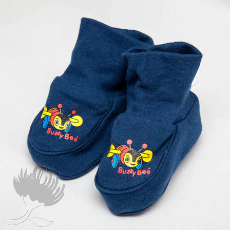 Buzzy Bee Navy Cotton Booties