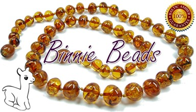 Child's Amber Teething Necklace - Cognac Colour